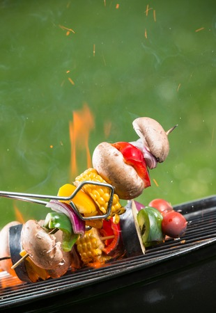 charcoal grill: Delicious grilled vegetarian skewers on burning coals