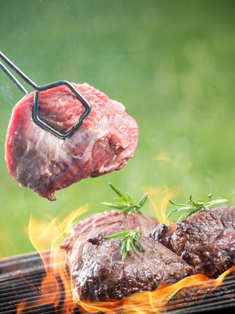charbroiled: Delicious beef steaks on grill