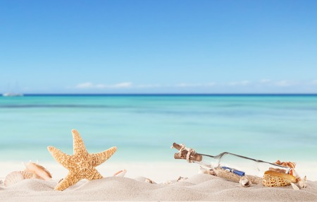Summer concept with sandy beach, shells and starfish Imagens - 29180651