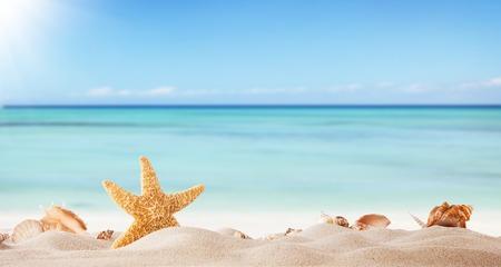 夏日沙滩,背景是模糊的大海