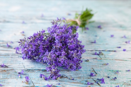 Lavender blossoms on wood