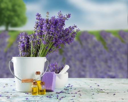 Harvested lavender flowers on wooden planks, blur field on background photo