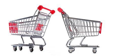 pushcart: Set of shopping baskets islated on white background Stock Photo