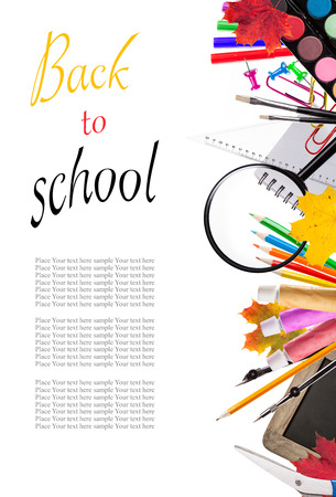 Concept of school tools isolated on white background photo