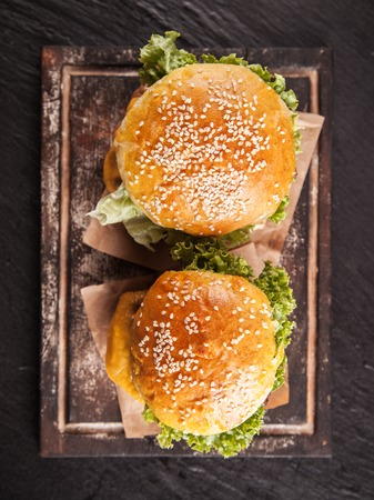 burger: Home made hamburgers Stock Photo