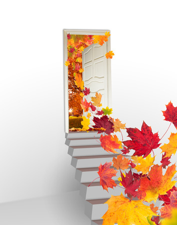 Concept of autumn leaves flying from door photo