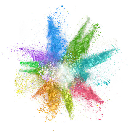 Freeze motion of colored dust explosion isolated on white background Stock Photo