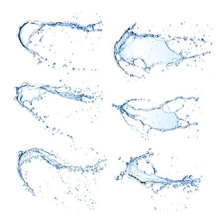 agua splash: El agua salpica colecci�n, aisladas sobre fondo blanco Foto de archivo