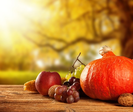 Autumn concept of traditional food  Mix of pumpkins, fruit and vegetable on wooden table with blur background  Free space for text