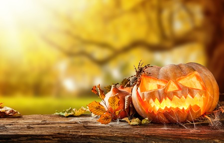 Concept of halloween pumpkins on wooden planks with blur background