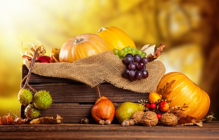 Seasonal harvested agriculture products in wooden box with blur background photo
