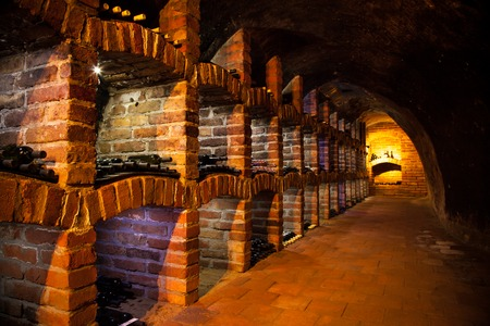separate: Long exposure of wine cellar with many bottles