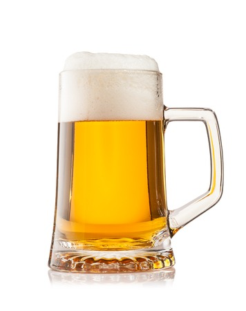 Studio photo of cup of beer isolated on white background photo