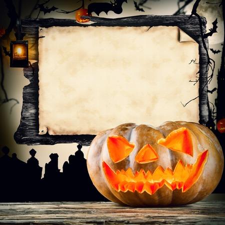 horror background: Halloween pumpkin Stock Photo