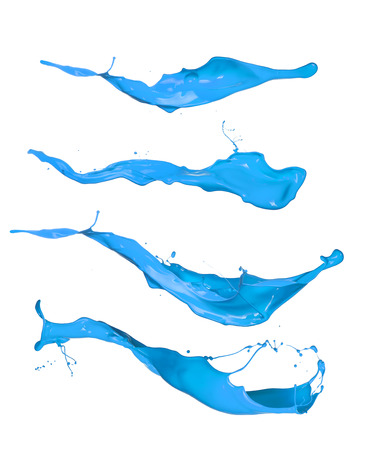 blue paint: Blue paint splashes collection, isolated on white background Stock Photo