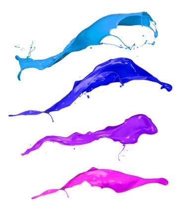 flor violeta: Pintura de color salpica recogida, aisladas sobre fondo blanco