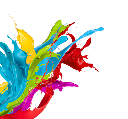 brush paint: Colored splashes in abstract shape, isolated on white background