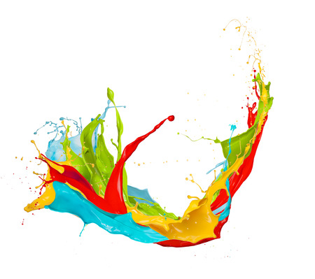 splash: Colored splashes in abstract shape, isolated on white background