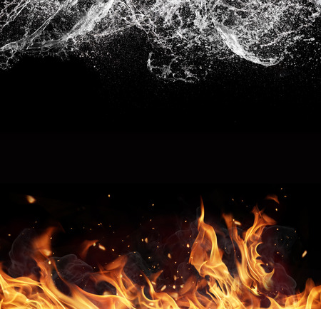 fetter: Symbol of water and fire energy, isolated on black background