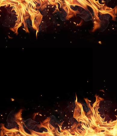 inferno: Fire frame with free space for text. isolated on black background Stock Photo