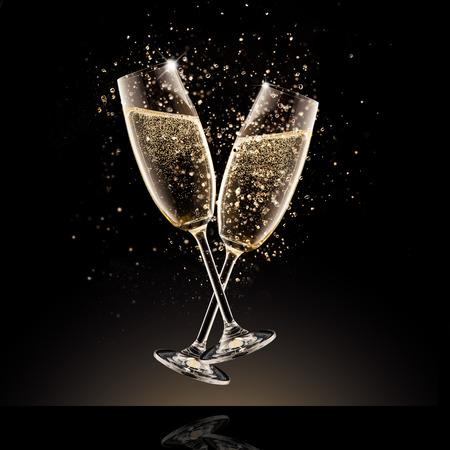 お祝いのテーマです。黒の背景で隔離の泡とシャンパンのグラス