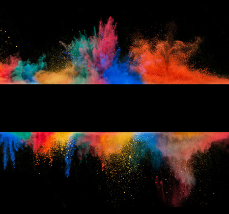 black background: Freeze motion of colored dust explosion in stripe sahep, isolated on black background Stock Photo