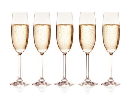 brindisi champagne: Gruppo di bicchieri di champagne isolato su sfondo bianco Archivio Fotografico