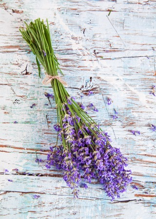 dried leaf: Lavender blossoms on wood, shot from upper view