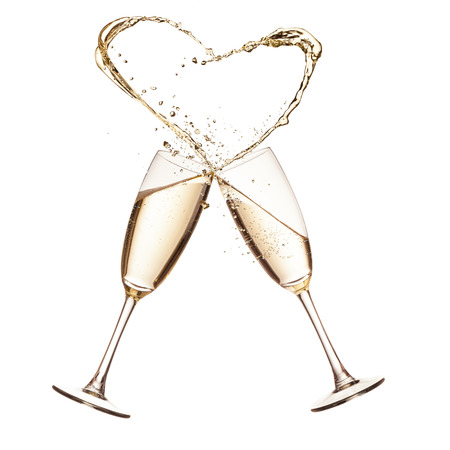 Two glasses of champagne with heart shape splash, isolated on white background