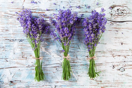 cut flowers: Lavender blossoms on wood, shot from upper view