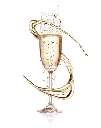 Glass of champagne with splash, isolated on white background Foto de archivo