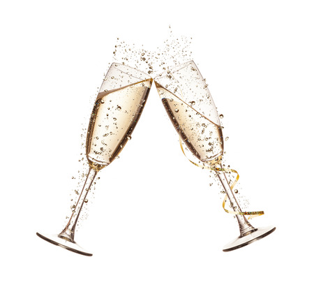 two: Two glasses of champagne with splash, isolated on white background