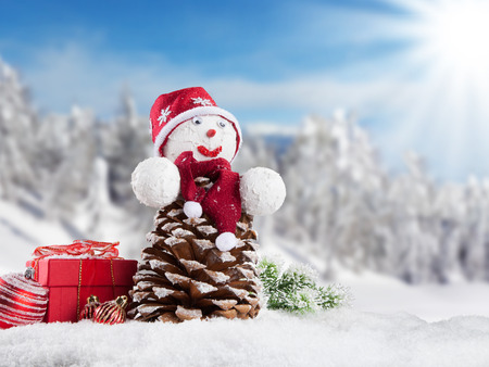 Winter holiday happy snow man with blur landscape on background photo