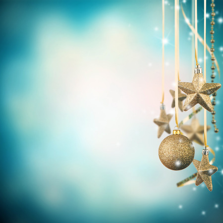 free christmas: Christmas theme with golden glass stars and free space for text