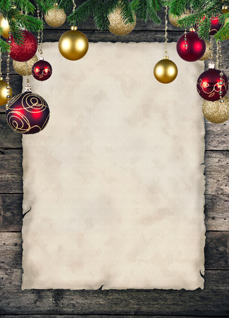 group of christmas baubles: Christmas celebration theme with blank paper for text