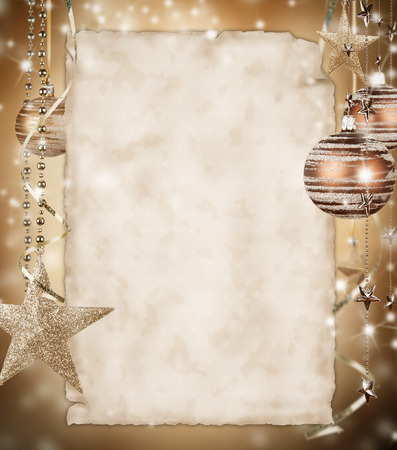 group of christmas baubles: Christmas background with blank paper