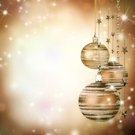 blue vintage background: Christmas theme with glass balls and free space for text