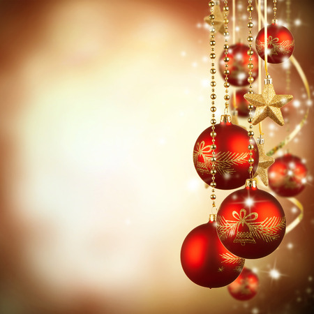 gold ornament: Christmas theme with red glass balls and free space for text