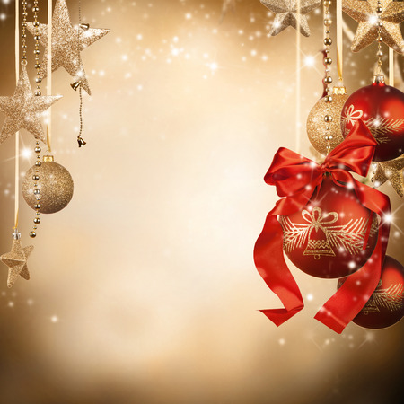 gold ornament: Christmas theme with glass balls and free space for text