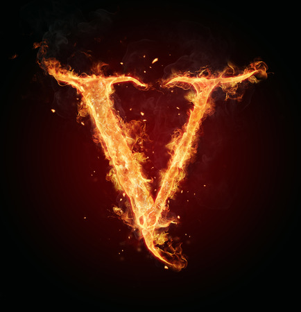 abstract fire: Fire letter V