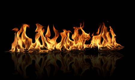 demonic: Fire flames on black