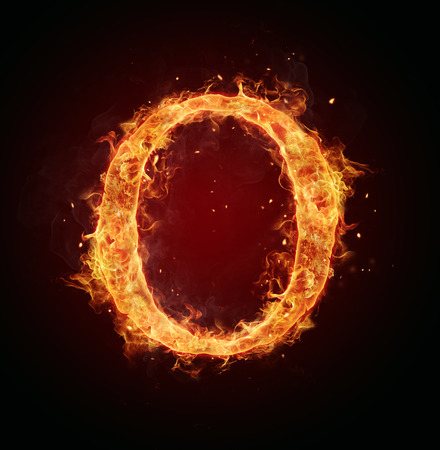 alphabet letters: Fire letter O