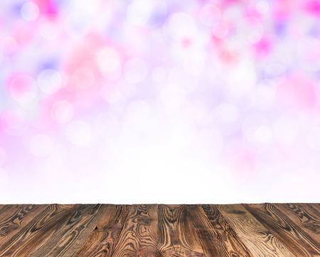 pink skies: Spring abstract backgroud with wooden planks and blurry backround