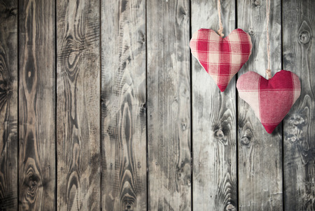 two hearts: Two hearts decoration on wooden background Stock Photo
