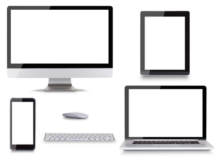 Collection of modern electronic devices isolated on white background.