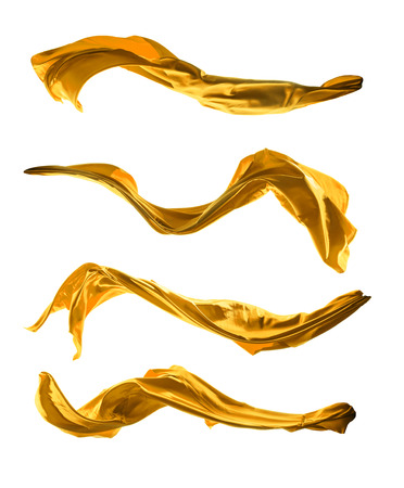 Isolated shot of freeze motion of golden silk, isolated on white background Фото со стока