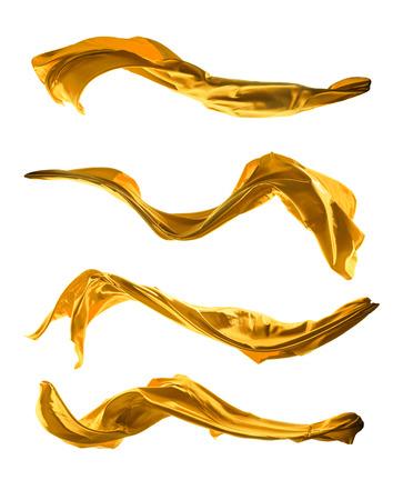 tela seda: Tiro aislado del movimiento congelaci�n de seda de oro, aislado en fondo blanco Foto de archivo