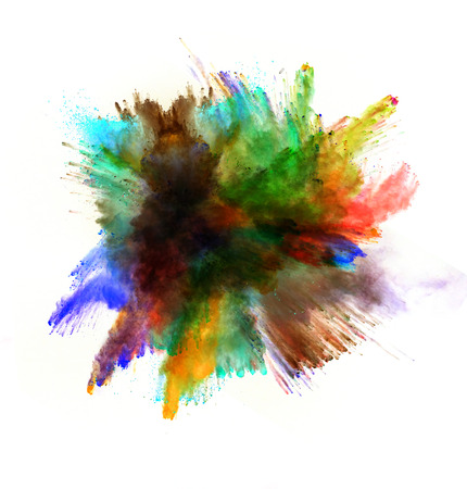 color paint: Freeze motion of colored dust explosion isolated on white background Stock Photo