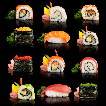 sushi roll: Sushi pieces