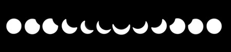occurred: Solar eclipse phases, 20th of March, 2015 Stock Photo